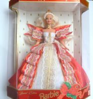 Vintage Rare Collectable Blonde 1997 Happy Holidays Barbie Collectors Club Doll.
